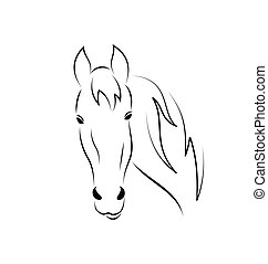 Symbol esboza el caballo principal aislado en el fondo blanco