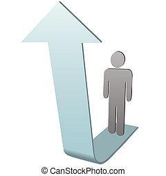 Symbol Person en flecha al éxito