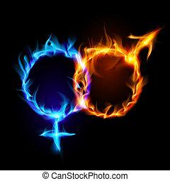 symbols., marte, venus, fuego