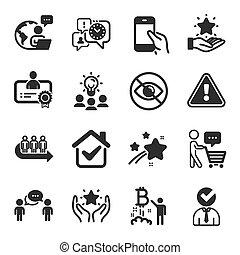 symbols., vector, programa, conjunto, lealtad, clasificación, iconos, tal, gente, certificado