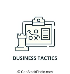 Tácticas de negocios icono línea, vector. Tácticas de negocios, símbolo conceptual, ilustración plana