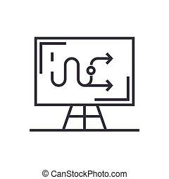 Tácticas empresariales icono lineal, signo, símbolo, vector de fondo aislado