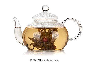 té, aroma, tetera, vidrio