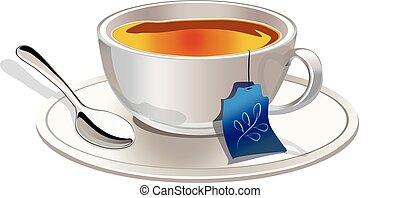 Té caliente en una taza de té