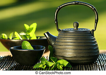 té, menta, asiático, tetera, negro