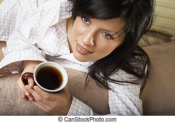 té, mujer, taza