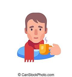 té, tipo, bufanda, plano, illustration., bebida