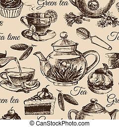 Té y pastel sin costura. Ilustración de bocetos a mano. Diseño de menú