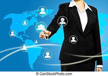 Técnica de pantalla con concepto de red social