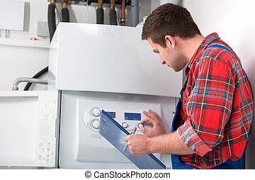 Técnica servicial caldera de calefacción