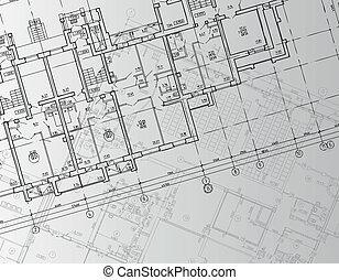 técnico, cartas, arquitectónico, plano de fondo, dibujo