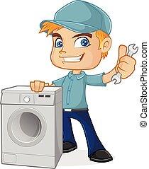 Técnico de HVAC sosteniendo lavadora