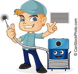 Técnico de mantenimiento de la máquina de limpieza