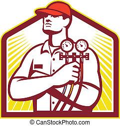 Técnico de refrigeración y calefacción retro