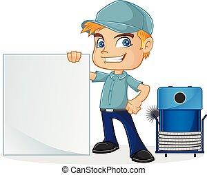 Técnico del HVAC sosteniendo una señal en blanco