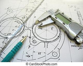 técnico, regla, digital, drawing., ingeniería, herramientas, mecánico, calibrador, pencil.
