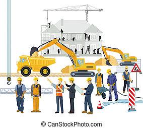 Técnico y artesano en la construcción de una casa