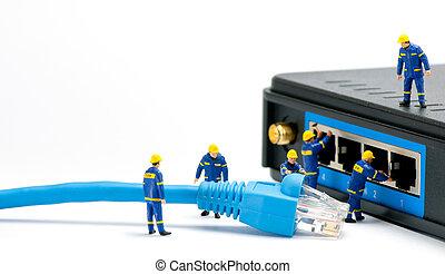 técnicos, de conexión, red, cable
