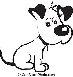 tímido, vector, silueta, perro, terrier
