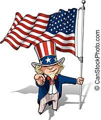 Tío Sam te quiero, bandera americana