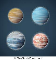 Típicos planetas espaciales o vectores planetarios fijados
