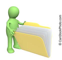 títere, carpeta, apertura, documentos