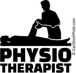 Título de trabajo fisioterapeuta con silueta