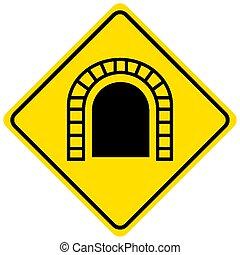 túnel, adelante, tráfico, plano de fondo, señal, amarillo, blanco