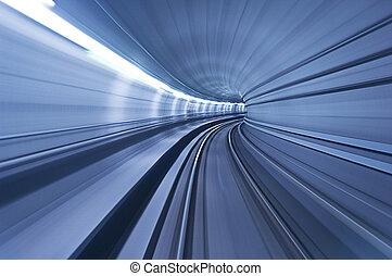 túnel, alta velocidad, metro