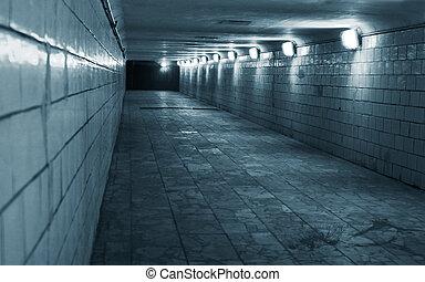 túnel, ciudad, urbano