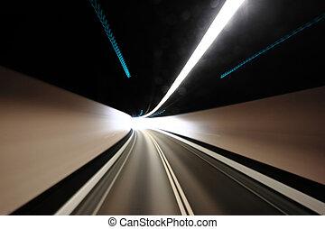 túnel, movimiento, blured, carretera