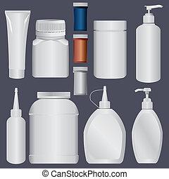 t, loción, botella, plástico