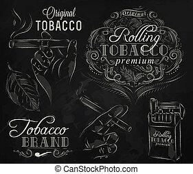 tabaco, colección, tiza