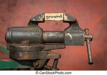 tablón, agarre, suelo, vicio, herramienta, palabra, apretar