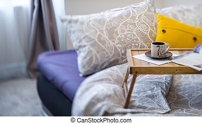 tabla, apartament., cocina, decoración