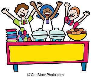 tabla, buffet, servicio