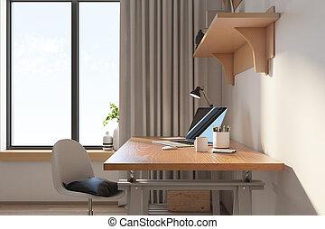tabla, cómodo, computador portatil, oficina, hogar