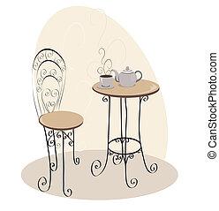 tabla, café, francés