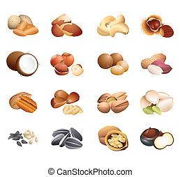 tabla, caloría, semillas, nueces