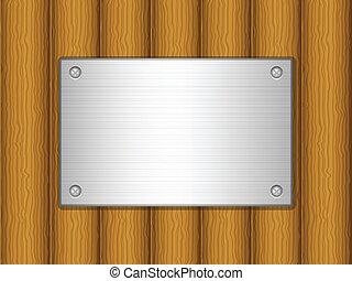 Tabla de madera y placa de metal