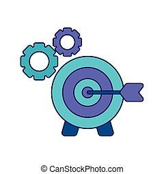 Tabla de objetivos con pinzas de engranajes