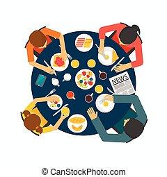 tabla, desayunándose, familia , sano