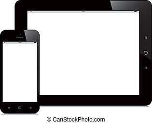 Tabla e smartphone con pantalla blanca de fondo blanco