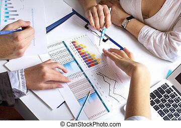 tabla, financiero, papeles