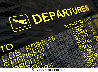 tabla, internacional, salidas, aeropuerto