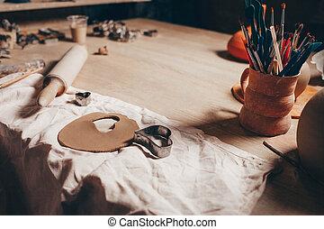 tabla, lío, creativo, alfarería