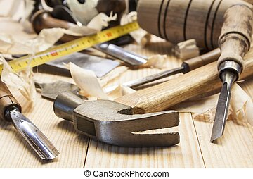 tabla, madera, herramientas, carpintero, pino
