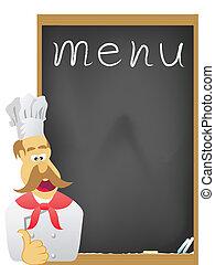 tabla, menú, chef