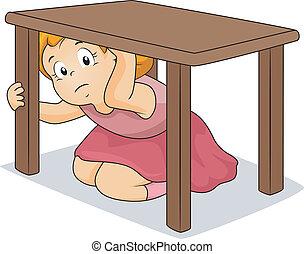 tabla, niña, paliza, debajo