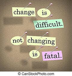 tabla, palabras, no, cambiar, fatal, boletín, cambio, difícil